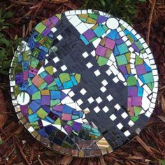 Colourful stepping stone,love the mirror pieces