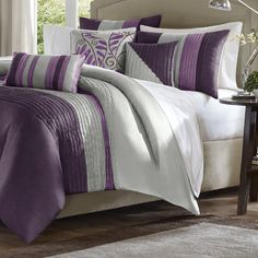 Purple and Gray Madison Park Bedding Set is available in Queen, King and California King sizes.  It's a 7-piece #PurpleandGray #BeddingSet