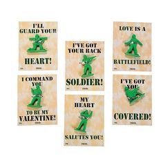 Army Guy Cards With Erasers - OrientalTrading.com  $5.50 FOR 24