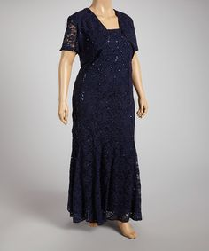 Navy Sequin Lace Drape Gown & Shrug - Plus by R&M Richards #zulily #zulilyfinds