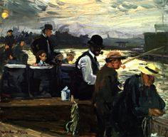 John Sloan (American, 1871-1951)   1908, Fishing for Lafayettes, oil on linen 21.6 x 26.7 cm