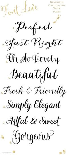 Best Calligraphy Fonts for Weddings :: 50 Hand Lettered Fonts ...