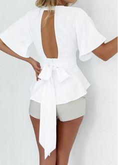 Plunging Neckline Short Sleeve White Blouse on sale only US$20.48 now, buy cheap Plunging Neckline Short Sleeve White Blouse at modlily.com