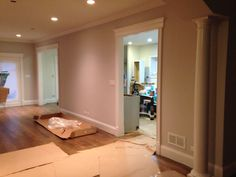 Cased doorways to kitchen look pretty. They're done in Decorator White