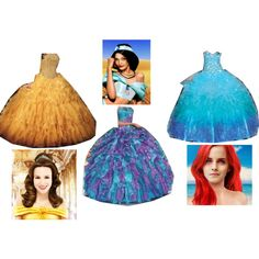 """""""Belle, Jasmine and Ariel at the Ball"""" by mandilynn726 on Polyvore"""