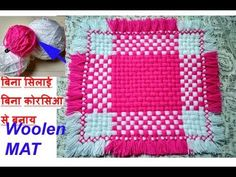 बिना सिलाई बिना कोरसिआ से बनाय woolen Table mat/ floor mat/thaal posh/re. Crochet Bedspread Pattern, Crochet Patterns, Loom Board, Wool Mats, Woolen Craft, Laddu Gopal, Kurti Neck, Plastic Canvas Crafts, Weaving Patterns