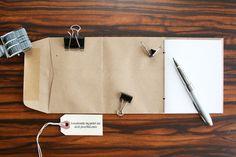 Handmade Mini Notebook: Envelope Pocket Travel Scrapbook Memo Pad Jotter - Kraft Brown Paper Bag Single Pocket Cover. $12.00, via Etsy.