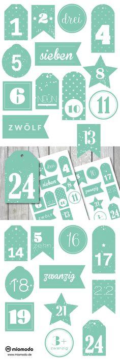 9 besten ☆ Adventskalender Zahlen Freebies ☆ Bilder auf Pinterest ...