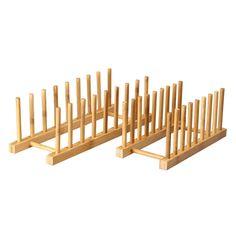 Furnistar 100% Natural Bamboo Kitchen Dish/Lid Drying Storage Rack