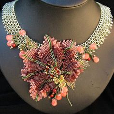 Mystical Orchid Necklace by Cielo Design Seed Bead Jewelry, Bead Jewellery, Beaded Jewelry, Beaded Necklaces, Wire Bracelets, Seed Bead Flowers, Beaded Flowers, Bead Embroidery Jewelry, Beaded Embroidery