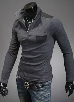 $11.24 Slimming Trendy Turn-down Collar Color Splicing Pocket Embellished Long Sleeves Cotton Blend Polo T-Shirt For Men