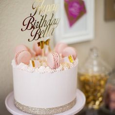 """Kara's Party Ideas on Instagram: """"That cake, though! See the entire stunning pink + gold birthday party featured on the blog (direct link in profile to see all the details) by @dolcedesigns1! Link to where the cake topper is from is in the write up on the blog, too (Pink Lemonade)! #pinkandgold #goldparty #birthdayparty #partyideas #partyplanning #dolcedesigns #partyplanner #festainfantil #gold #shimmer #desserttable #karaspartyideas"""""""