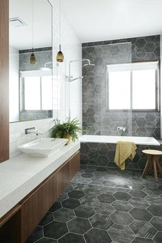 Know the 9 Best Bathroom Flooring Options for Your Home geometric tiles in bathroom [simple decoration ideas, interior design, home design, decoration, dec Bathroom Flooring Options, Best Bathroom Flooring, Bathroom Floor Tiles, Bathroom Renos, Laundry In Bathroom, Bathroom Renovations, Bathroom Grey, Bathroom Ideas, Vanity Bathroom