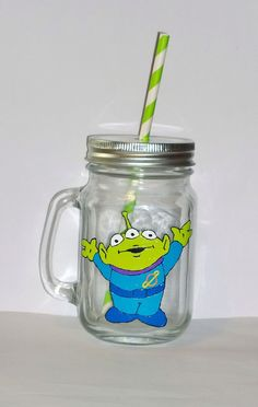 Hand painted Alien (from Toy Story) drinking jar. by BeUniqueCrafting on Etsy