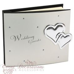Juliana Guest Book Aluminium Cover with Crystals & Hearts