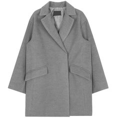 Boxy Standard Notched Lapel Coat (1.810 RUB) ❤ liked on Polyvore featuring outerwear, coats, over coat, bunny coat and long sleeve coat