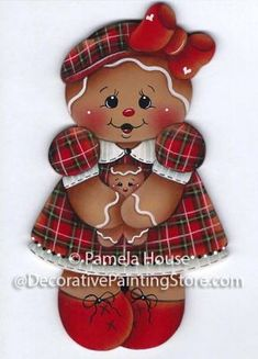 The Decorative Painting Store: Ginger Mom and Baby Pattern, Gingerbread Gingerbread Ornaments, Gingerbread Decorations, Gold Christmas Decorations, Christmas Gingerbread, Christmas Paintings, Christmas Art, Christmas Ornaments, Baby Painting, Tole Painting