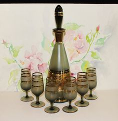 Vintage, Green Floral, Wine Decanter Set with Gold Trim and 6 Glasses by cocoandcoffeevintage