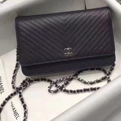 feed640a9d0f Chanel Grained Chevron Calfskin Wallet On Chain WOC Bag Deep Blue  2017(Silver Hardware)