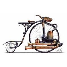 Steampunk bicycle drawing