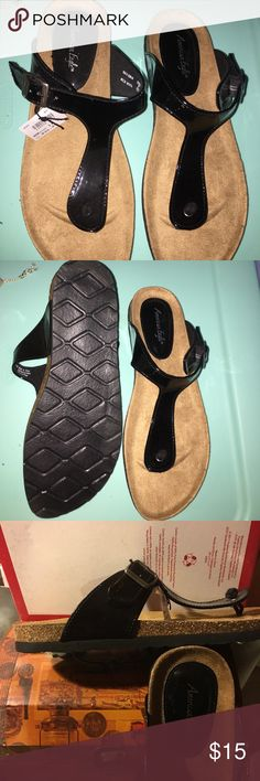 Spotted while shopping on Poshmark: Black sandals! #poshmark #fashion #shopping #style #American Eagle By Payless #Shoes