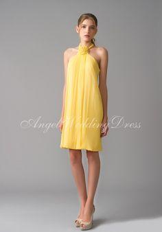 Sheath Halter Short Length Chiffon Bridemaid Dress Style