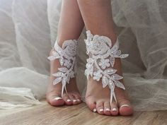 Ivory or white lace wedding barefoot sandals french by LadyVIVIENN