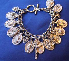 Religious Saint Medal Charm Bracelet 1120aTrinity by faithsymbol