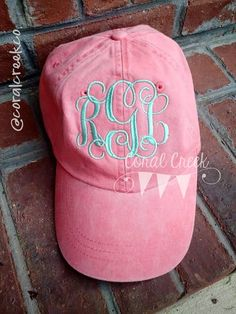 Monogrammed Comfort Colors Pigment Dyed Hats - OSFM  CoralCreekCo