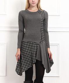 Look at this #zulilyfind! Charcoal Houndstooth Handkerchief Tunic #zulilyfinds