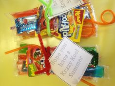 End of the year student gift - ice pops, kool-aid, crazy straws, airheads, pixie sticks