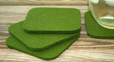 Square Felt Coasters Moss Green Wool 5mm Thick Fabric Drink