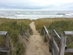 The path leading to the dunes at Port Crescent State Park in Michigan's thumb. High winds bring waves crashing to the shore.