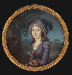 Lady in purple dress and hat with feather occupied Marie Gabrielle Capet to 1796, Tansey Collection