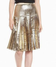 4a58a86249c Lewit NEW Gold Women s Size 12 Shimmer A-Line Silk Pleated Skirt  299  889   fashion  clothing  shoes  accessories  womensclothing  skirts  ad (ebay  link)