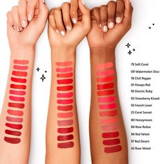 What it is: A silky, long-lasting lip stain that keeps lips covered with bold color from AM to PM—no need to reapply or touch up throughout the day. What it does: This bestselling, high-coverage lip color glides on smooth and transforms from Lipstick For Fair Skin, Lipstick Art, Liquid Lipstick, Sephora Lip Stain, Sephora Lipstick, Lipsticks, Lipstick Swatches, Makeup Swatches, Long Lasting Lip Stain