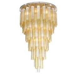 Very Large Venini Style Suspended Clear and Gold Murano Glass Chandelier