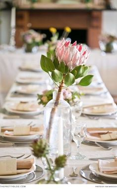 Almost-Spring Tablescape Inspiration Modern Wedding Flowers, Wedding Table Flowers, Wedding Table Decorations, Floral Wedding, Protea Centerpiece, Floral Centerpieces, Wedding Centerpieces, Table Arrangements, Floral Arrangements