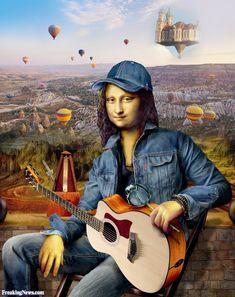 Mona Lisa the Folk Singer Real Mona Lisa, Mona Lisa Smile, Mona Friends, La Madone, Mona Lisa Parody, Visual Metaphor, Classic Artwork, Funny Art, Monet