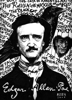 a portrait of Edgar Allan Poe with the titles of many of his works in the background