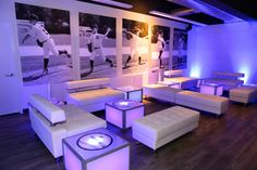 Even the LED tables in the MVP Lounge, which featured our sleek white leather furniture, sported a custom logo. See more photos from this #baseball themed Bar Mitzvah here: https://www.facebook.com/xquisiteflowersandevents/posts/1087762534623299 @chelseapiersct
