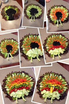 """Turkey vegetable platter **LOVE these #Thanksgiving turkeys made of vegetables! Just add """"Feel Good Ranch"""" #Saladshots as a perfect compliment to the veggies without alot of extra sugar, fat & calories! Tweet us on Twitter: www.twitter.com/Saladshots Pin with us on Pinterest: http://www.pinterest.com/saladshots1/boards/ Join us on Instagram: http://instagram.com/saladshots Visit our website: www.Saladshots.com #healthy #kids #fun #creative #veggies"""