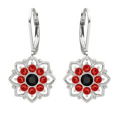 Lucia Costin Sterling Silver Red/ Black Earrings