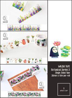 $12.5 for 3 | Washi Tape | Botanical Series 3 | 30mm x 10m – R.atelier #Journaling #PlannerLove #PlannerCommunity #PlannerAddicts #JournalLove #MaskingTape #WashiTape #Embellishment #DecorativeTape #AdhesiveTape #KawaiiTape