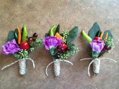 Chili pepper boutonnieres for a spicy Moab, Utah, wedding! Flowers by MannaFloral. Chili, Moab Utah, Stuffed Peppers, Boutonnieres, Spicy, Wedding Flowers, Plants, Art, Art Background