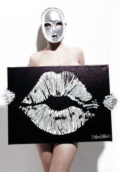 Lips Canvas aoriginal hand drawn limited edition of 100 signed and numbered. Lip art printed on black canvas with white ink.