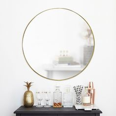 """Umbra Hubba 34"""" Round Wall Mirror In Brass - Elevate your modern-style décor with the Umbra Hub Round Wall Mirror for a minimalist touch. Supported by a sleek metal rim, this elegant mirror opens up any space while adding stylish appeal. Large Round Wall Mirror, Circular Mirror, Mirror Set, Round Mirrors, Vanity Mirrors, Brass Mirror, Wall Mirrors, Dresser Mirror, Gold Circle Mirror"""