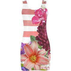 Flowers and Pink Stripes Medea Vest Dress (Model D06) (2,010 INR) ❤ liked on Polyvore featuring dresses, stripe, flowers, floral stripe dress, striped dresses, pink striped dress, stripe dresses and pink dress