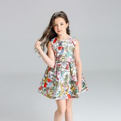 Kimocat Baby Girls Summer Sleeveless Dress New Brand Kids Print Party Dress for Girls Children Fashion Clothes #Affiliate