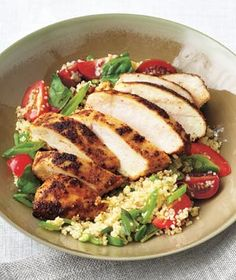 Spiced Chicken With Couscous Salad recipe from realsimple.com #myplate #protein #veggies